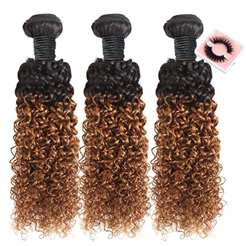 8A Grade Brazilian Curly Hair Weave 3 Bundles (10  10  10 ) Brazilian Virgin Kinky Curly Human Hair Weave 8A 100% Unprocessed Hair Weft Extensions Ombre 2 Tone 1B 30 Color