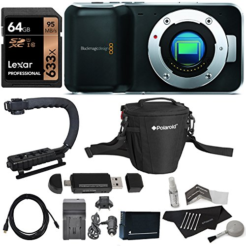 Blackmagic Camera Pocket Cinema Mirrorless Micro Four Thirds Lens Mount + Lexar 64GB Memory Card + Stabilizer + Polaroid Cleaning Kit + Bag + Card Reader Writer + Battery & Charger + HDMI Cable Bundle