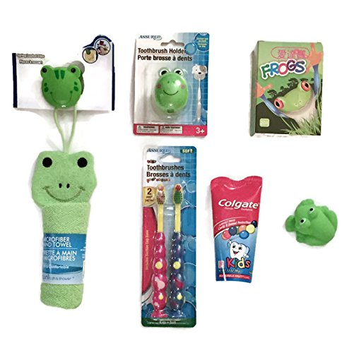 Kids/Child Bathroom Frog Bundle: Bandaids/Bandages (20), Hand towel with Frog Clip, 2 Soft toothbrushes with Frog Top/holder, Toothpaste and a Rubber Frog Toy ( 7 items)