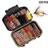 ALLOMN 40/72/100/120 PCS Fliegenfischen Trockenfliegen, Angelköder Fliegen Set Fliegenfischen Köder Sortiment 5 Verschiedene Fliegen, mit Wasserdichter Box (120 PCS)