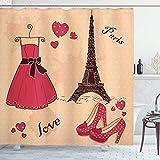 N\A Tacchi e Abiti Tenda da Doccia, Boutique Francese Parigi Scarpe Eleganti retrò Torre Eiffel, Set da Bagno in Tessuto con Ganci, Salmone Chiaro