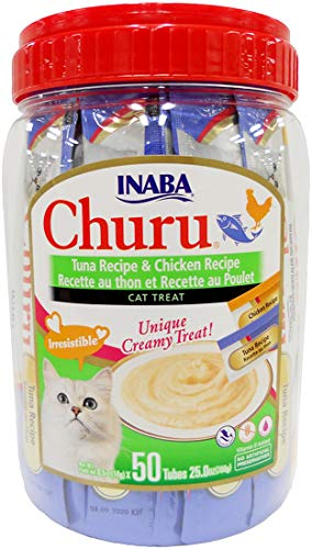 INABA Churu Lickable Creamy Purée Cat Treats Tuna Recipe and Chicken Recipe Canister of 50 Tubes