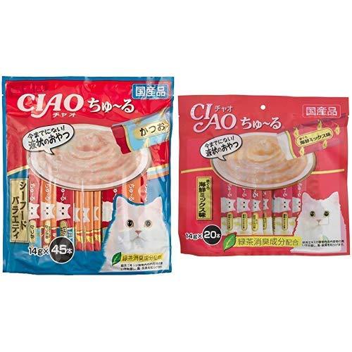 (CIAO Cats) Churu Seafood Variety 0.5 oz (14 g) x 45 Sticks & (CIAO) Cat Treats, Churu Ru Tuna, Seafood Mixed Flavor, 0.5 oz (14 g) x 20 Pieces
