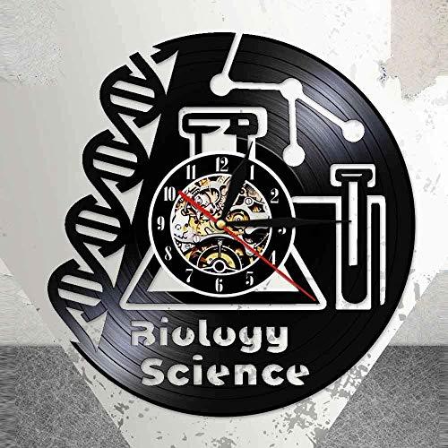 YDDLIE Biowissenschaft Retro Design Beleuchtung Arzt Wanduhr chemisches Mikroskop Schallplatte Wanduhr mit Nachtlicht