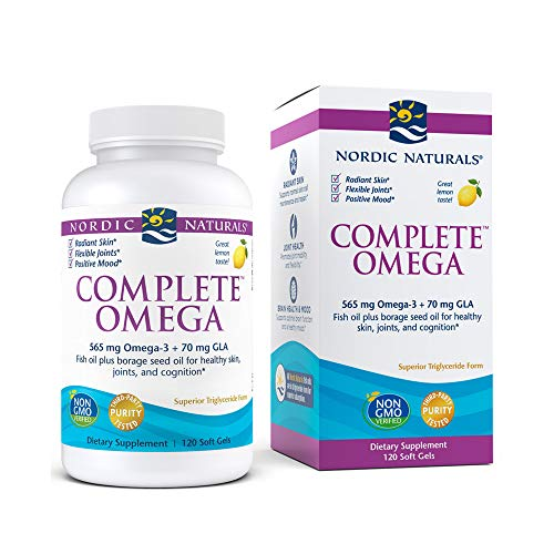 Nordic Naturals Complete Omega, Lemon Flavor - 565 mg Omega-3-120 Soft Gels - EPA & DHA with Added GLA - Healthy Skin & Joints, Cognition, Positive Mood - Non-GMO - 60 Servings