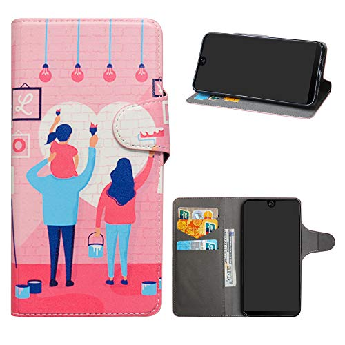 HHDY Wiko View 2 Leder hülle, Painted Muster Wallet Handyhülle mit Kartenfächer/Standfunktion Hülle Cover für Wiko View 2,Family