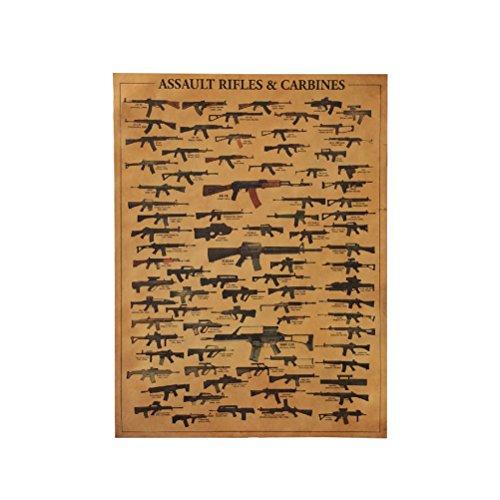 LIOOBO Retro Waffe Welt schießt Papier Poster Vintage Wallpaper Assault - Größe 42 x 30cm