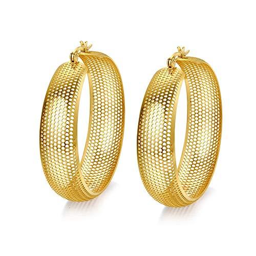 Pendiente De Aro Grande Para Las Mujeres De Oro Hueco Color Acero Inoxidable No Alergia