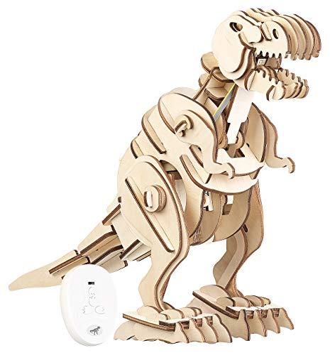 Kits de Madera: Kit de Dinosaurio de Madera controlable a Distancia, Ruidos rugientes 102 Piezas (3D Equipo)