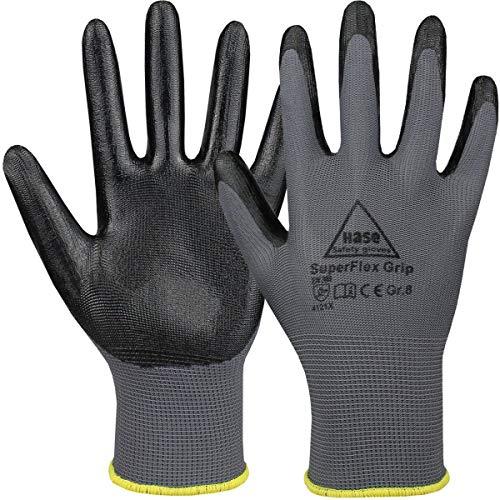 10 Paar Hase Safety Superflex Grip Nitril-Arbeitshandschuhe, rutschfeste Mechaniker-Handschuhe Größe L