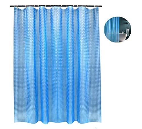 Voarge Eva-geprägter Duschvorhangfilm mit 3D-Effekt blau, umweltfre&lich, waschbar, wasserdicht, durchscheinend, schimmelhemmend, mit 12 weißen Haken [180 x 180 cm], Duschvorhang für das Badezimmer
