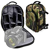 DURAGADGET Mochila Camuflaje con Compartimentos Desmontables Compatible con Cámara Nikon Coolpix P950, Nikon D780, Canon EOS-1D X Mark III + Funda Impermeable