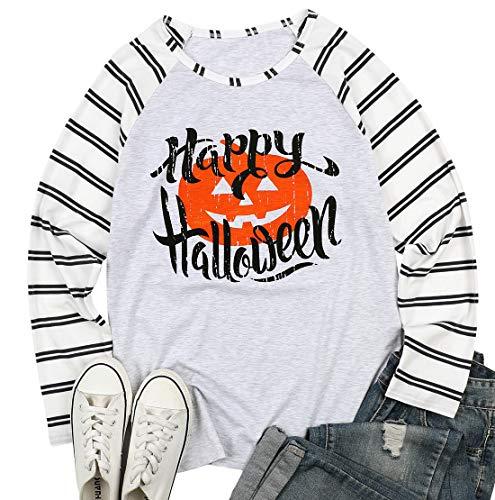 Happy Halloween Baseball Long Sleeve T-Shirt Women's Fancy Pumpkin Face Splicing Top Tees Size M (Light Grey)