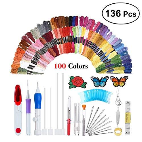 HEALLILY Kit de bordado de aguja de perforación Magic Embroidery Pen Set de aguja de...