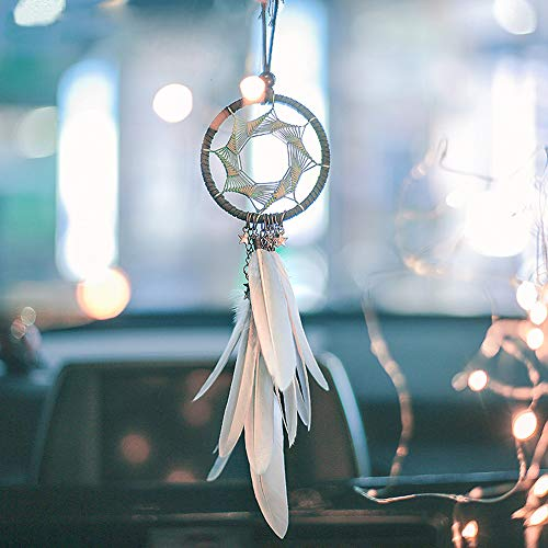 "YGMONER Dream Catcher Handmade Car Interior Rearview Pendant Charm Car Hanging Decoration 2.8"" Diameter (Grey)"