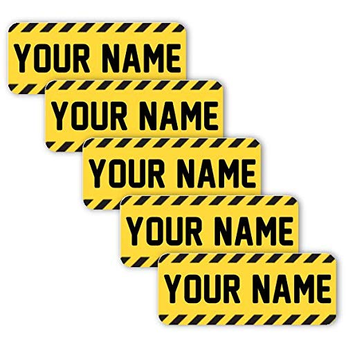 40 Original Personalized Waterproof Custom Name Tag Labels (Caution Tape) – Multipurpose Marking for All Ages - Camping Gear, Luggage, Kindergarten