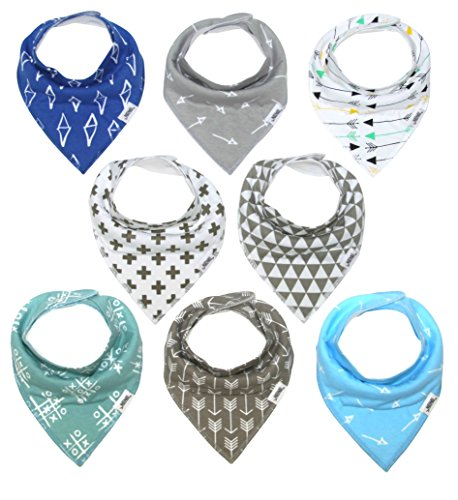 Matimati Baby Bandana Bib Set, 8-Pack Super Absorbent, Soft, Chic Organic Drool Bibs for Boys &...
