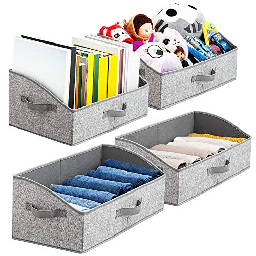 Artsdi Large Capacity Storage Bins and Baskets with Handles, Closet Shelf Organizer Bin, Foldable Trapezoid Storage Box for Shelves,Clothes,Baby Toiletry,Toys,Towel,DVD,Book, Gray, Jumbo [4 Pack]