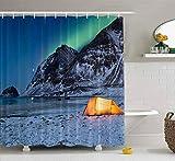 Rideau de douche, rideau de douche pour bébé Rideau de douche Naitical Illuminé Tente Islands sous les aurores boréales en hiver Décor étanche Salle de bain Tissu Polyester Design Set avec crochets