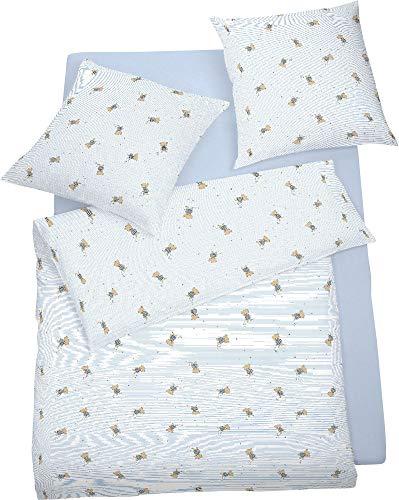 schlafgut Kinder-Bettwäsche Single-Jersey hellblau Größe 100x135 cm (40x60 cm)