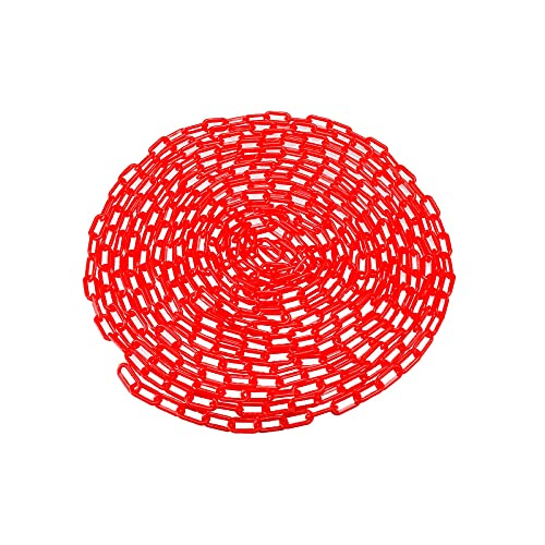 2 Inch Plastic Chain Links Plastic Safety Barrier Chain, 50FT 100FT Length Caution Security Chain (50 FT, Red)