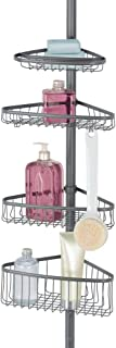 mDesign étagère de douche télescopique en métal et plastique – serviteur de douche à fixation facile – étagère d'angle ext...