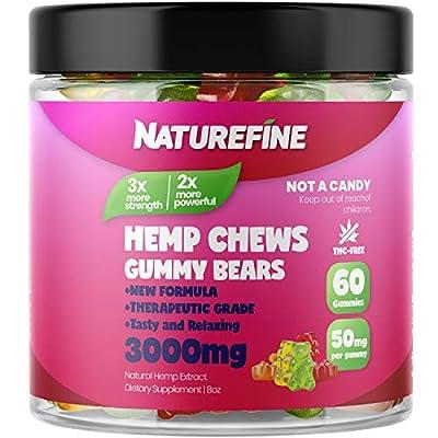 Hemp Gummies - Zero THC CBD Oil Cannabidiol - 2100 MG - 35 MG per Gummie - Hemp Oil for Pain Relief - Relieves Stress & Anxiety, Overall Health - Grown & Made in The USA by Naturefine