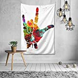Asl (American Sign Language) I Love You Tapestry Wall Hanging Tapestries Art For Living Room Collage Dorm Bedroom Home Decor Ready To Hang 60x40 Inch