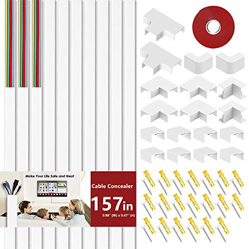 Cord Cover Cable Concealer - BEYYON 157' On-Wall Raceways Kit,...