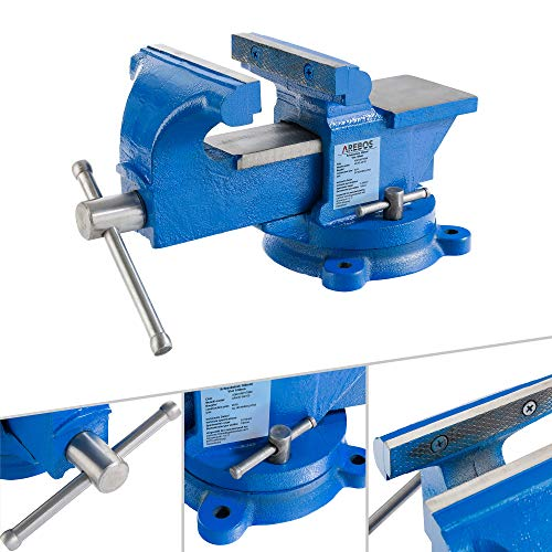 AREBOS Schraubstock 100 mm | 360° drehbar | Gusseisen | mit Amboss | Blau | Spannkraft 0,75 T