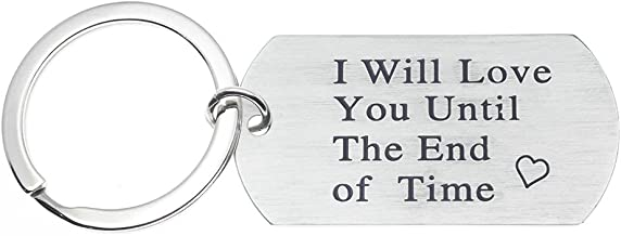 Ms.Clover I Will Love You Until The End of Time Keychain, Gift For Him, Gifts for Men, Boyfriend Girlfriend Husband Necklace