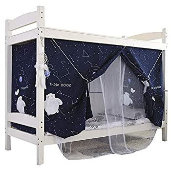 Kennedy Bottom Bunk Bed Canopy Mosquito Net Students Dormitory Single Bed Blackout Drapery 2 in 1 Style,Color 8