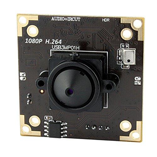 Svpro Módulo de cámara USB, 3MP MICRON AR0331 Sensor H.264 WDR Cámara USB con lente Pinhold de 3.7 mm para aplicaciones industriales, rango dinámico de hasta 100 dB, IR-CUT y soporte para micrófono