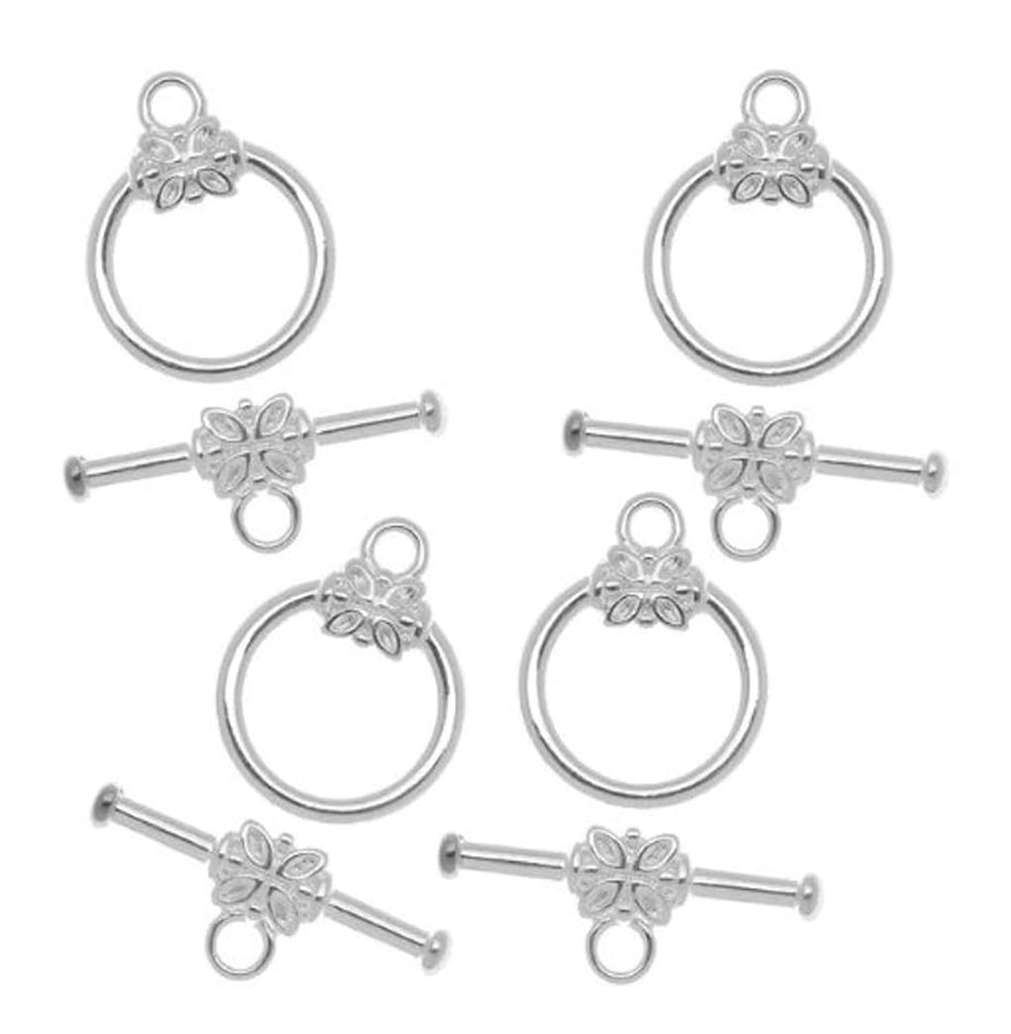 2 sets Sterling Silver Flower Toggle Clasps 15mm Connector Beads for Jewelry Craft Making SS356