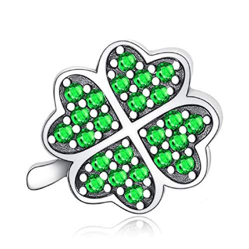 FeatherWish - Colgante de plata de ley 925 con diseño de trébol de cuatro hojas de la suerte y circonita cúbica verde para pulsera Pandora