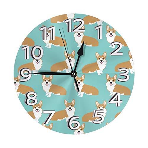 AIZENN - Reloj de pared con diseño de perro Corgi de color verde menta, silencioso, de cuarzo, funciona con pilas, 10 pulgadas, redondo, fácil de leer, decorativo para el hogar, oficina, escuela