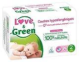 Love & Green Couches Bébé Hypoallergéniques 0% Taille 2 (3-6 kg) 36 couches