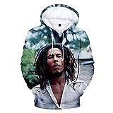 Sudaderas con capucha 3D populares Sudaderas con capucha de reggae para hombres/mujeres Sudadera con capucha con estampado 3D de moda Rock Boys Bob Marley Abrigos L