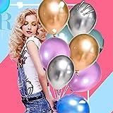 50 Stück Luftballons Metallic,Bunt Verchromte Helium Ballons 6 Metallischen Farben Metallfarbe Dekoration für Vintage Jugendweihe Junge Geburtstag JGA Party Deko (Gold Silber Blau Grün Rosa Lila) - 3