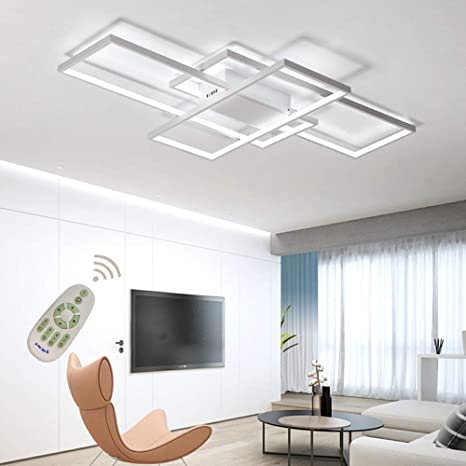 LED Ceiling Light Dimmable Living Room Kitchen Island Table Light Fixture  With Remote Control, Modern Dining Room Flush Mount Acrylic Chic Design