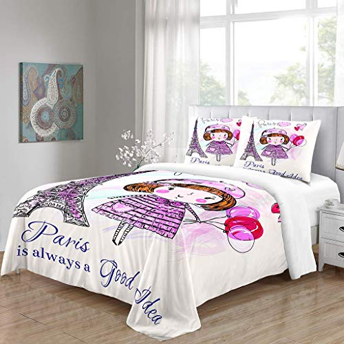 Simproude Quilt Duvet Cover and Two Pillowcases Ultra Soft Hypoallergenic Microfiber Bedding Set 3 pcs with Zipper Closure - little girl