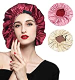 Satin Bonnet Silk Sleep Cap: 2PCS Silk Bonnets for Curly Hair, Braids, Big Hair, Adjustable Large Hair Bonnet for Sleeping, Silk Hair Bonnets for Women (Two Reversible Layers with 4 Colors)
