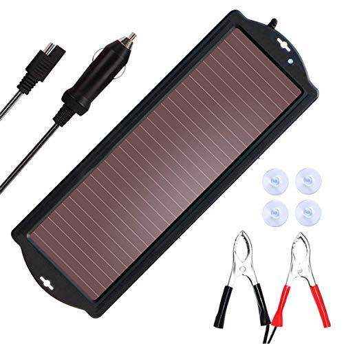 SARONIC Cargador de batería Solar, Cargador de batería de Coche con Enchufe para Encendedor de Cigarrillos y Cable de Carga de batería, Apto para Coches, caravanas y Barcos (1,5 W)