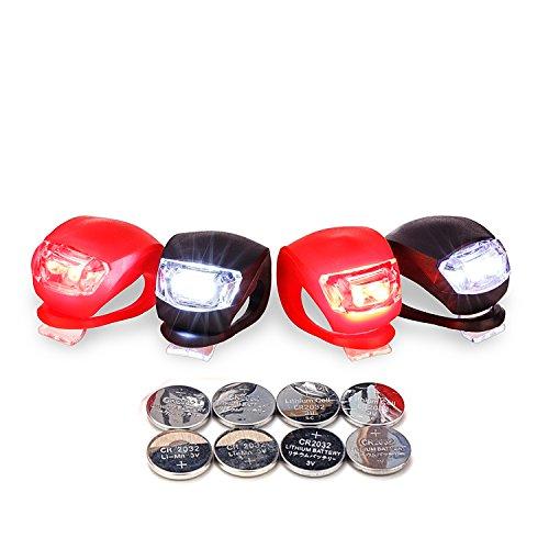 LUZWAY Luci Bici LED, Luce Bicicletta Impermeabile, 4 Pezzi Luci Bicicletta Faretto in Silicone LED Posteriore e Anteriore, Fanali Bici, Batterie Incluse 2 x Nero (LED Bianco) +2 x Rosso (LED Rosso)