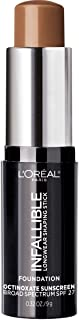 L'Oreal Paris Makeup Infallible Longwear Foundation Shaping Stick, Up to 24hr Wear, Medium to Full Coverage Cream Foundation Stick, 411 Chestnut, 0.32 Ounce