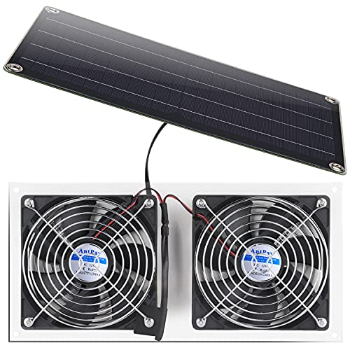 Solar Panel Fan Kit , Antpay 10W Weatherproof Dual Fan with 11Ft/3.5m Cable for Small Chicken Coops, Greenhouses, Sheds,Pet Houses, Window Exhaust