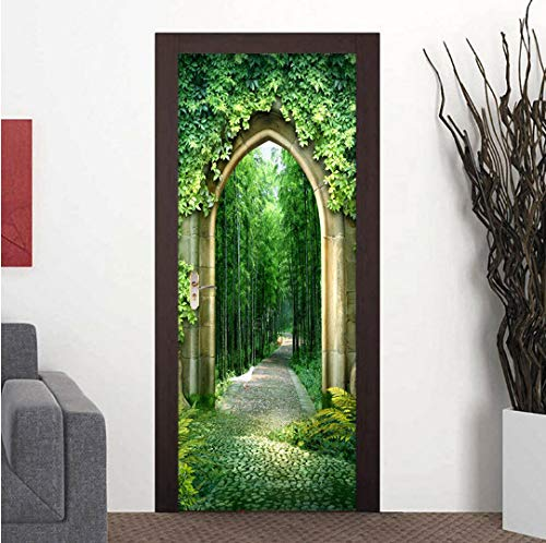 MNJKH Türaufkleber Wandbild, Green Forest Path Landschaft Türaufkleber 3D Wohnzimmer Studie Home Decor Wallpaper 3D Türbild Wasserdicht