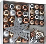 Weihnachtsbaumschmuck Set - 45 teilig in Metalltönen (Kupfer, Silber, Gold etc.) - 36 Kugeln, Weihnachtsbumspitze, Dekosterne und Kette