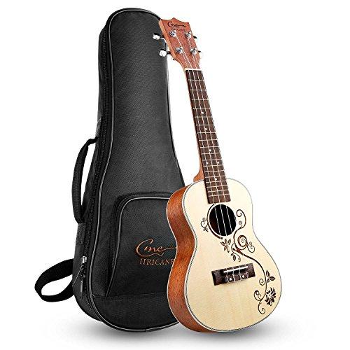 Hricane Konzert Ukulele UKP-1 23 Zoll Traditionelle Mahagoni Ukulele Anfänger Klein Hawaiische Gitarre mit Groß Tasche [Konzert]