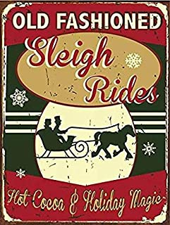 Fieanxi Old Fashioned Sleigh Rides Metal Sign 8